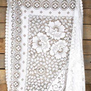 Linen Table Cloth Vintage White Lace Large