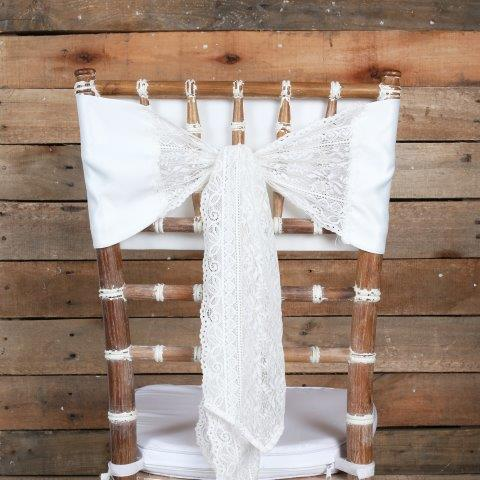 Linen Tieback Lace Satin White mx