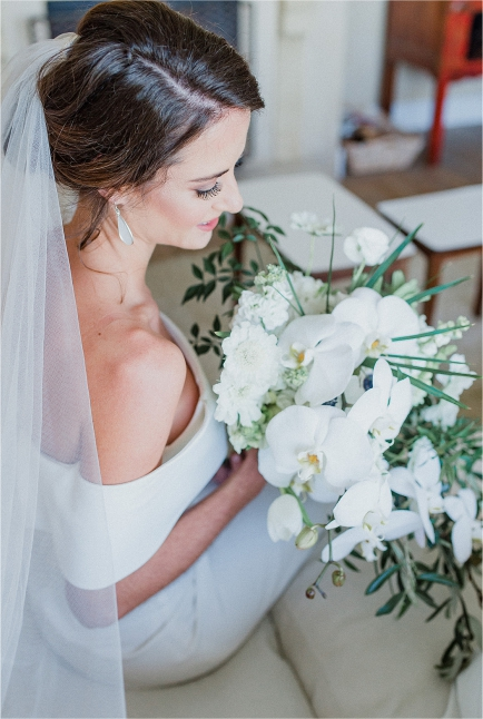 My Pretty Vintage Striking Bride Holding Cascading White Bouquet