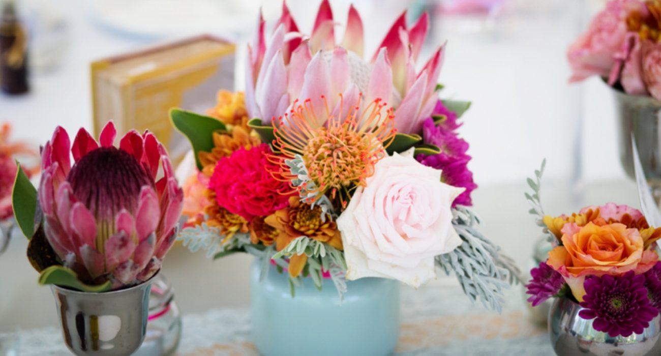 Pink Protea Floral Table Arrangements