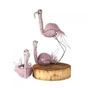 Prop Bird Beaded Flamingo Trio