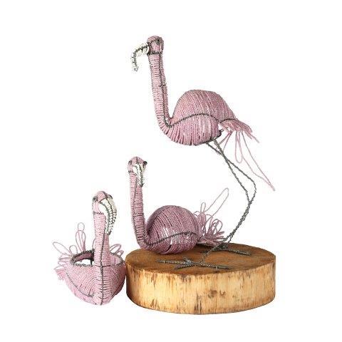 Prop Bird Beaded Flamingo Trio