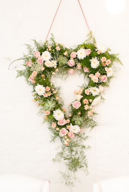 Romantic Hanging Wedding Heart Wreath