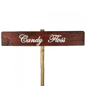 Sign Dark Wood Candy Floss No Arrow