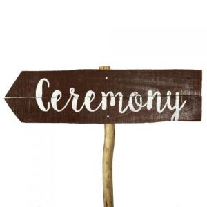 Sign Dark Wood Ceremony Curvy Left