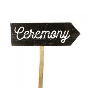 Sign Dark Wood Ceremony Curvy Right