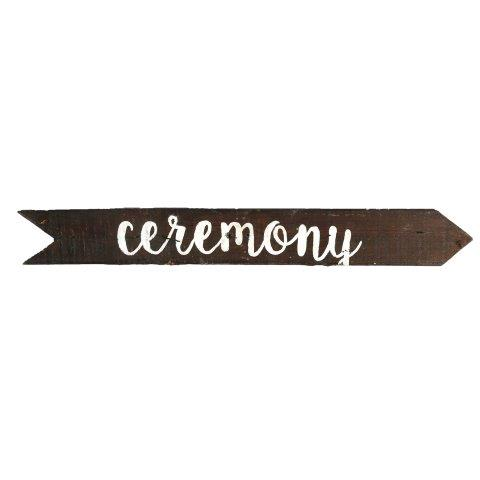 Sign Dark Wood Ceremony Hanging Right
