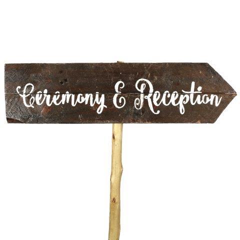 Sign Dark Wood Ceremony Reception Curvy Right