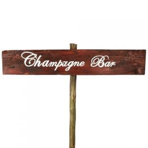 Sign Dark Wood Champagne Bar No Arrow