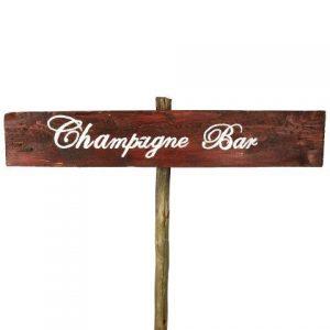 Sign Dark Wood Champagne Bar No Arrow