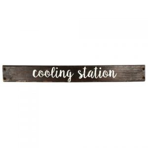 Sign Dark Wood Cooling Station