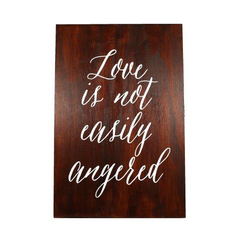 Sign Dark Wood Corinthians Love Is Not Angered