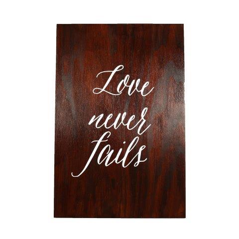 Sign Dark Wood Corinthians Love Never Fails