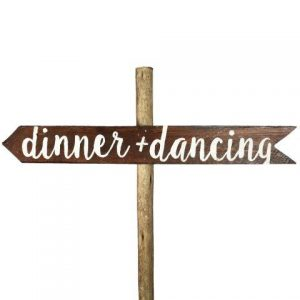 Sign Dark Wood Dinner Dancing Left