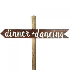 Sign Dark Wood Dinner Dancing Left
