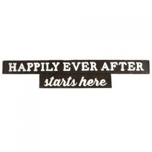 Sign Dark Wood Happily Ever After Starts Here Hanging No Arrow
