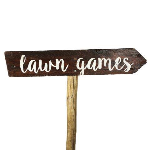 Sign Dark Wood Lawn Games Curvy Right