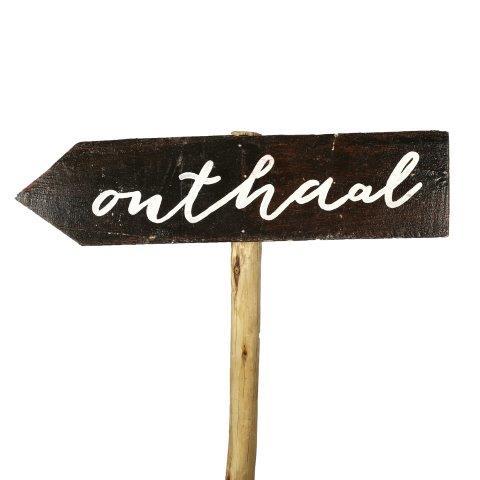 Sign Dark Wood Onthaal Left