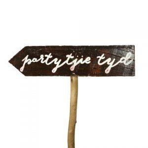 Sign Dark Wood Partytjie Tyd L