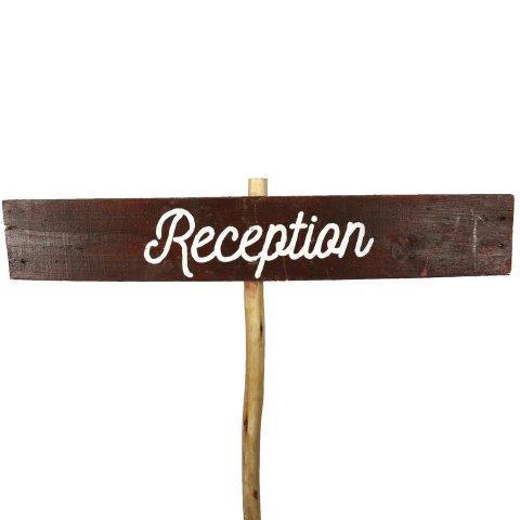 Sign Dark Wood Reception Curvy No Arrow