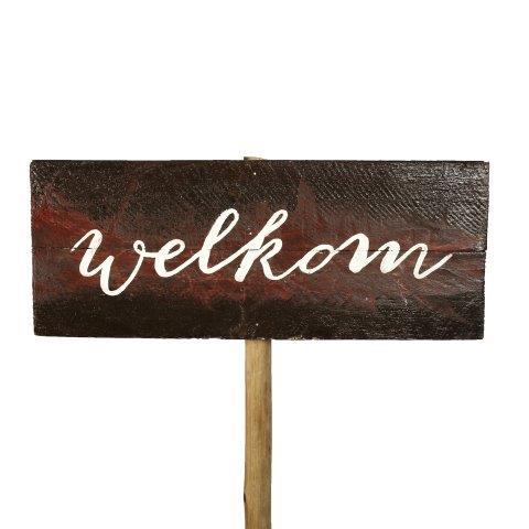 Sign Dark Wood Welkom No Arrow