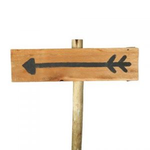 Sign Light Wood Arrow Black Left Facing