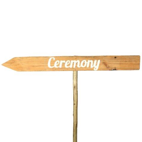 Sign Light Wood Ceremony White Left
