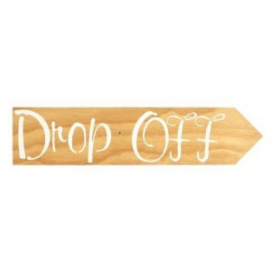 Sign Light Wood Drop Off White Right