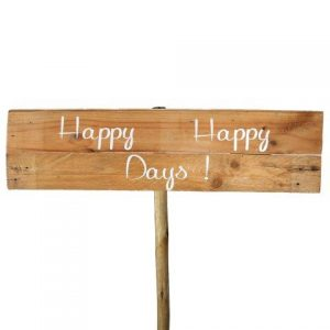 Sign Light Wood Happy Happy Days White