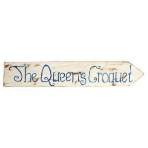 Sign White Wood The Queens Croquet in Blue