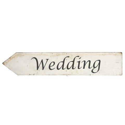 Sign White Wood Wedding Left Facing