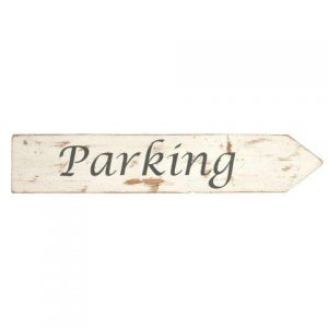 Signs White Wood Parking Right Facing