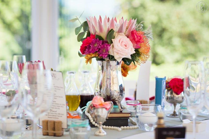Sliver Teapot Centerpiece Protea Roses Pincushions