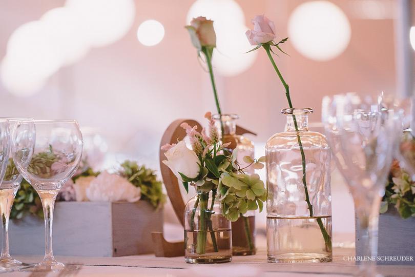Soft Flower Arrangements At Reception