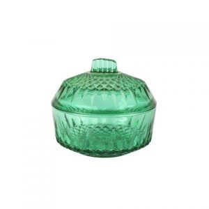 Sweetie Jar Green Cut Glass Lid