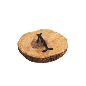 Table Numbers Round Wood Slice Black   cm