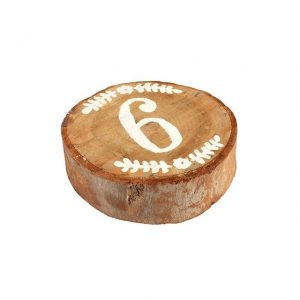 Table Numbers Round Wood Slice White   cm