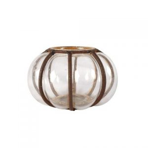 Vase Glass Metal Pumpkin Bowl