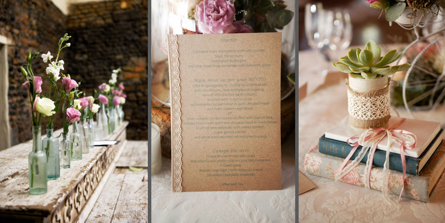 Vintage Wedding Decor Accessories Menus Old Bottles Table Books