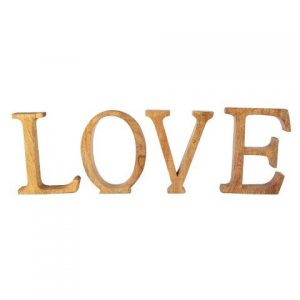 "WORDS ""LOVE"" Natural Wood"