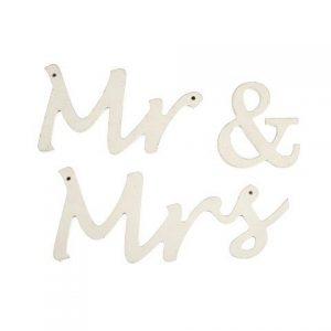 """WORDS """"MR & MRS"""" Wood Hang White"""