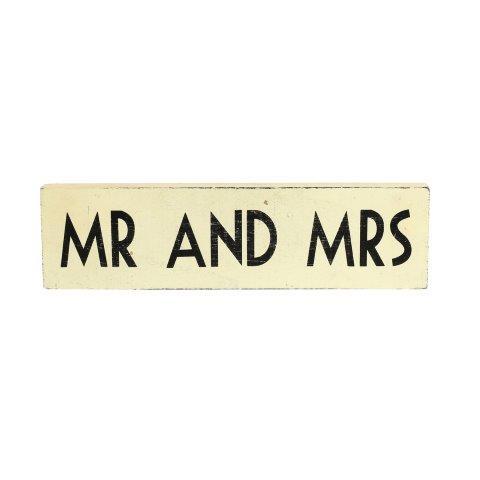 """WORDS """"MR & MRS"""" Wooden Block Black & White"""