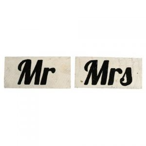 "WORDS ""MR & MRS"" Black & White"