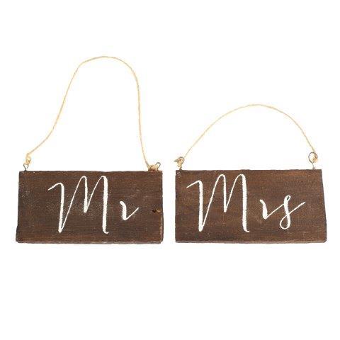 """WORDS """"MR & MRS"""" Chair Hang Dark Wood"""