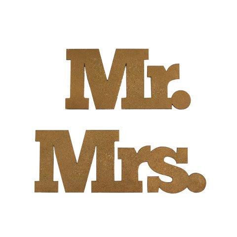 """WORDS """"MR & MRS"""" Gold Glitter"""