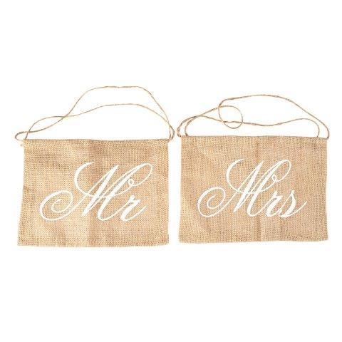 "WORDS ""MR & MRS"" Hessian"