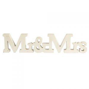 """WORDS """"Mr & Mrs"""" Block Joined White"""