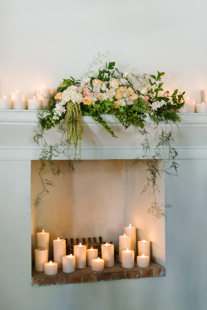 Wedding Floral Fireplace Decor