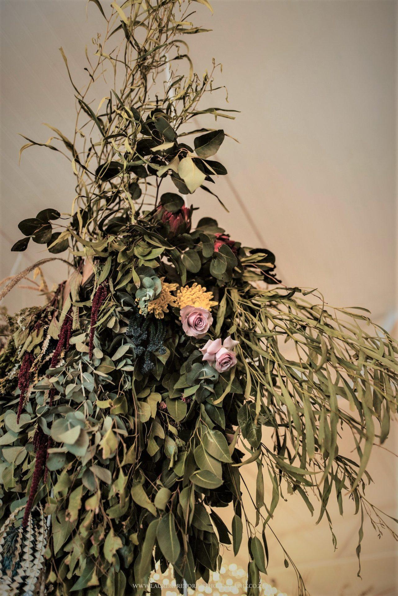Wedding Hanging Decor Greenery and Flowers