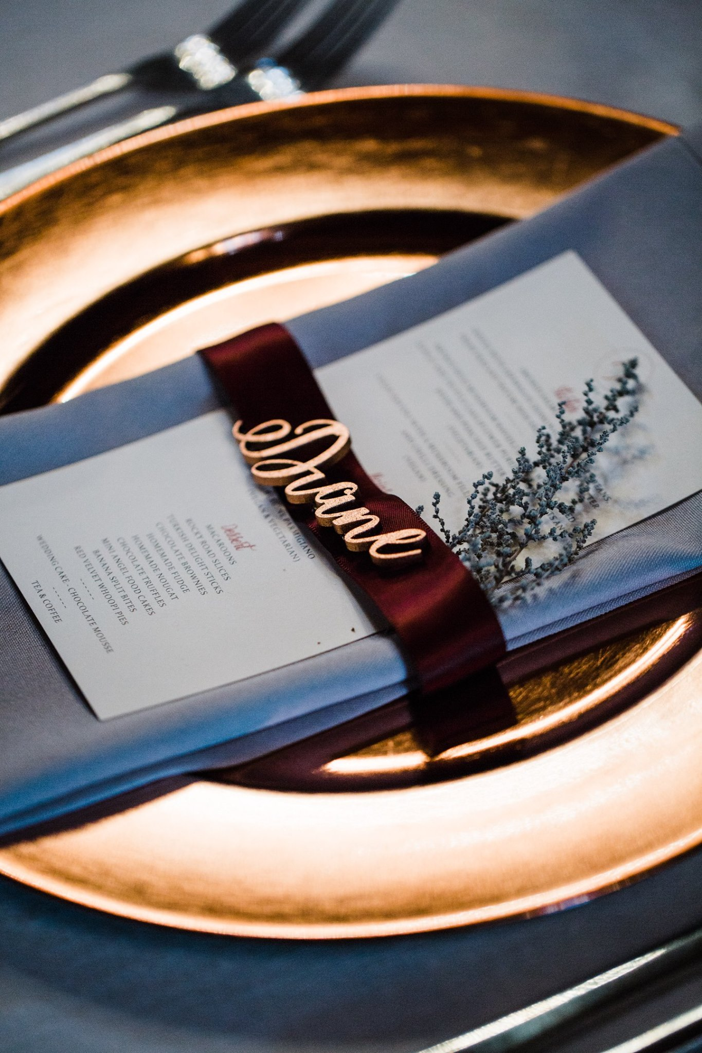 Wedding Menu Ribbon Wrapped